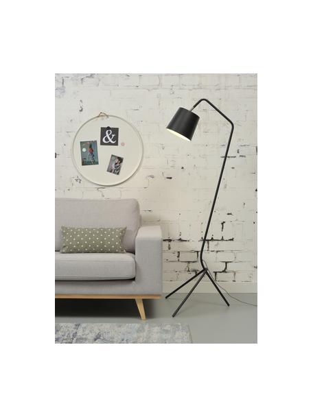 Design vloerlamp Barcelona van metaal, Lampenkap: gecoat metaal, Lampvoet: gecoat metaal, Zwart, 57 x 155 cm