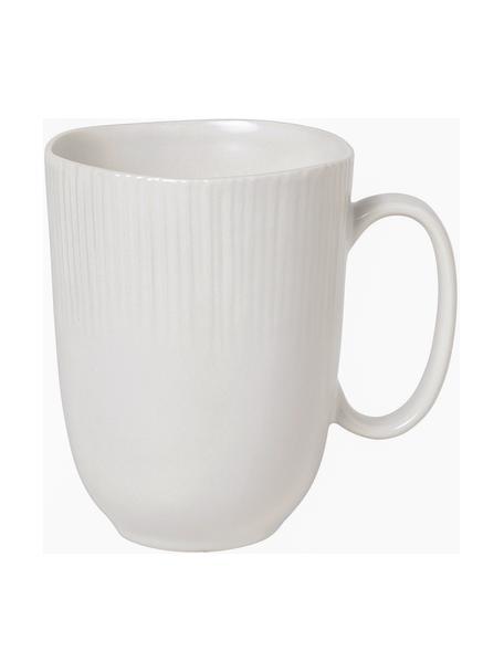 Handgemachte Tassen Sandvig mit leichtem Rillenrelief, 4 Stück, Porzellan, durchgefärbt, Gebrochenes Weiß, Ø 10 x H 12 cm