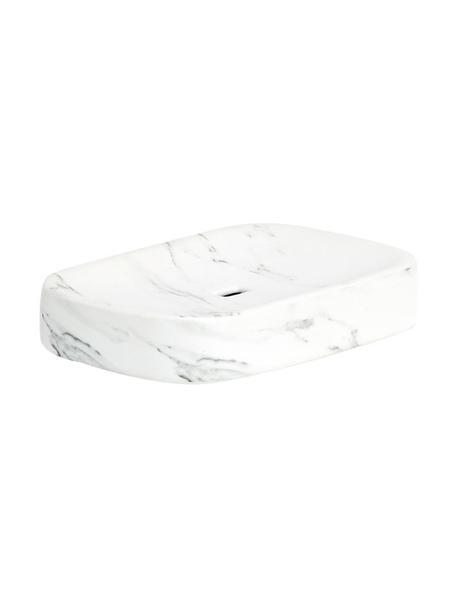 Portasapone in ceramica effetto marmo Marble, Ceramica, Bianco, Larg. 13 x Alt. 2 cm