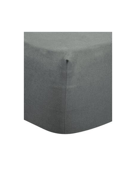 Flanellen hoeslaken Biba in grijs, Weeftechniek: flanel, Grijs, 90 x 200 cm