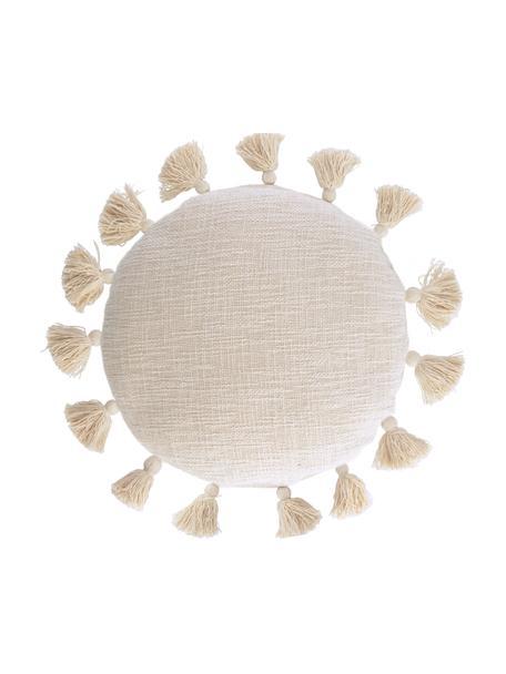 Runde Kissenhülle Chiarina mit Quasten und Strukturoberfläche, 100% Baumwolle, Beige, 45 x 45 cm