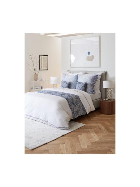 Premium boxspring bed Violet in lichtgrijs, Matras: 5-zones pocketvering, Poten: massief gelakt berkenhout, Geweven stof lichtgrijs, 140 x 200 cm