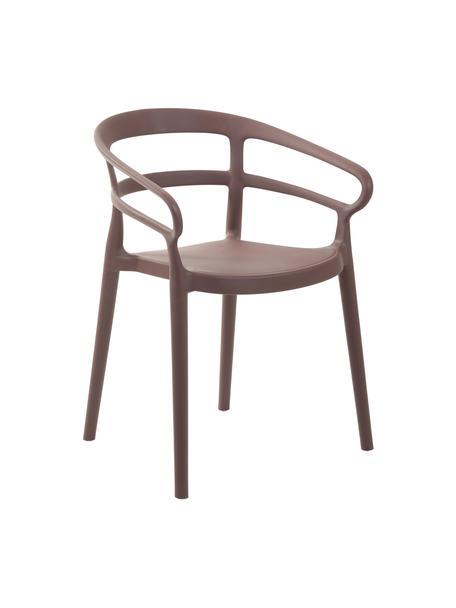 Sedie in plastica con braccioli Rodi 2 pz, Polipropilene, Marrone, Larg. 52 x Prof. 57 cm