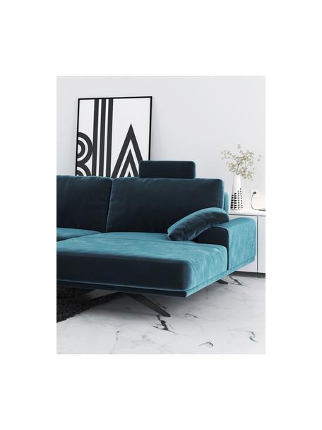 Sofa narożna z aksamitu Prado, Tapicerka: 100% aksamit poliestrowy,, Nogi: metal lakierowany, Ciemny niebieski, S 315 x G 180 cm