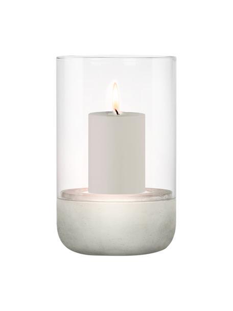 Windlicht Calma, Windlicht: Glas, Sockel: Beton, Grau, Transparent, Ø 12 x H 20 cm