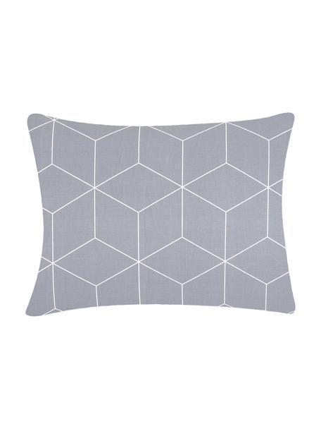 Funda de almohada de algodón Lynn, 50x70cm, Gris, blanco crema, An 50 x L 70 cm