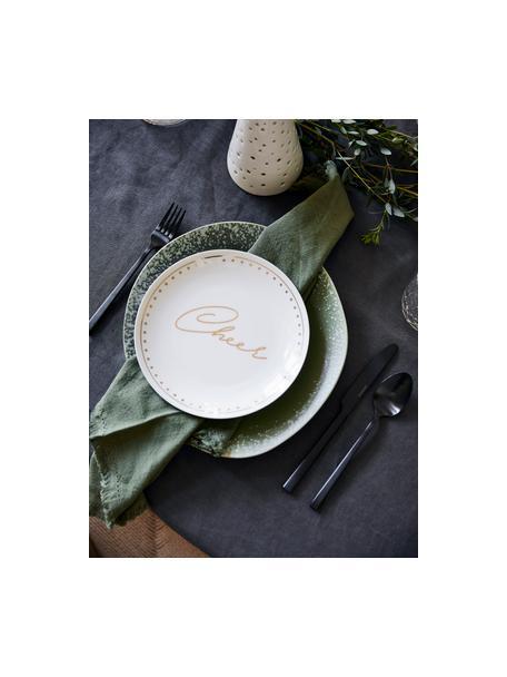 Porselein ontbijtbord Glimmer met gouden opschrift, 4-delig, Porselein, Wit, goudkleurig, Ø 21 cm