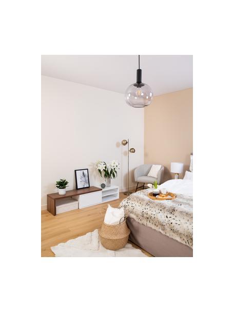 Lámpara de techo pequeña Alton, Pantalla: vidrio, Estructura: metal recubierto, Anclaje: metal recubierto, Cable: cubierto en tela, Negro, gris, transparente, Ø 25 x Al 33 cm