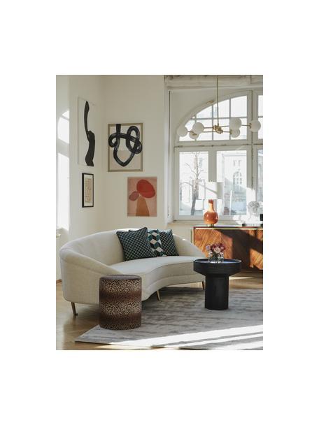 Tavolino rotondo in legno di mango Benno, Legno massiccio di mango verniciato, cemento, Nero, Ø 50 x Alt. 50 cm