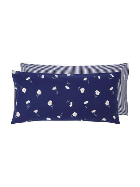 Dwustronna poszewka na poduszkę z bawełny Daisies, 2 szt., Niebieski, biały, żółty, zielony, 40 x 80 cm