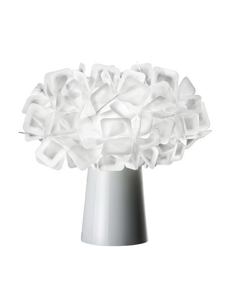 Kleine design tafellamp Clizia uit kunststof, Lampenkap: technopolymeer Lentiflex®, Lampvoet: gecoat staal, Wit, Ø 27 x H 25 cm