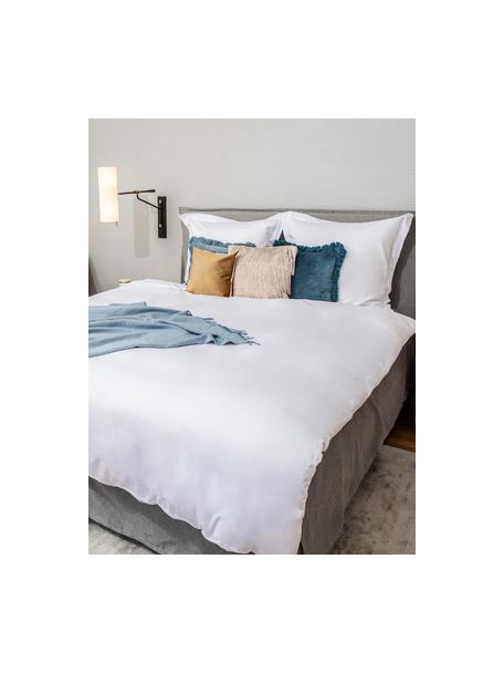 Parure copripiumino in raso di cotone bianco Premium, Bianco, 155 x 200 cm