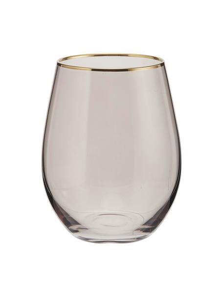 Bicchiere acqua con bordo dorato Chloe 4 pz, Vetro, Blu scuro, dorato, Ø 9 x Alt. 12 cm