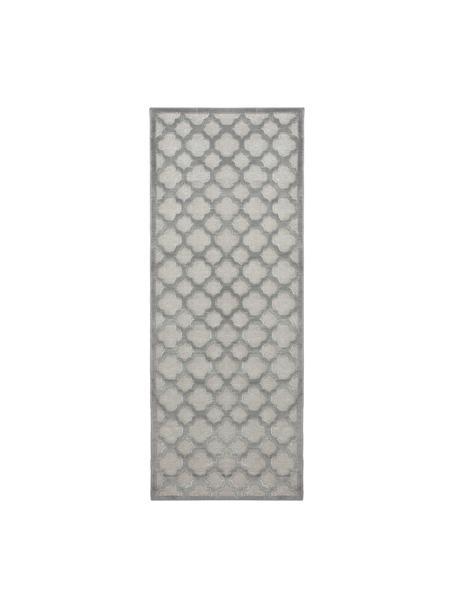 Viscose loper Bryon in grijs met hoog-laag patroon, Bovenzijde: 100% viscose, Onderzijde: latex, Grijs, 80 x 250 cm