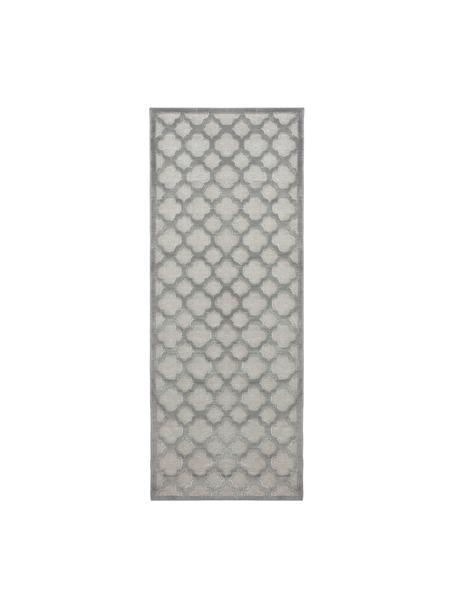 Viskoseläufer Bryon in Grau mit Hoch-Tief-Muster, Flor: 100% Viskose, Grau, 80 x 250 cm