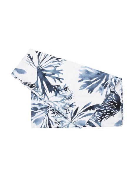 Bieżnik Bay, 100% bawełna, Biały, niebieski, S 50 x D 160 cm