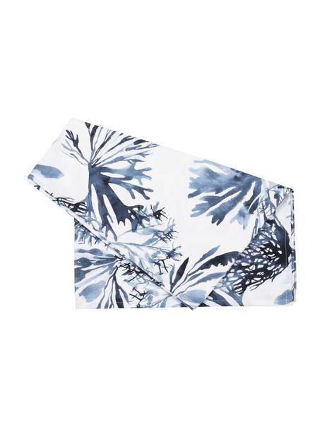Camino de mesa Bay, 100%algodón, Blanco, azul, An 50 x L 160 cm