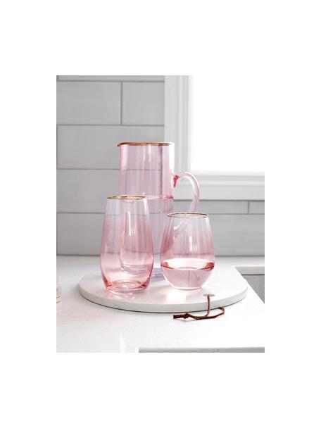 Karaf Chloe in roze met goudkleurige rand, 1.6 L, Glas, Perzikkleurig, H 25 cm