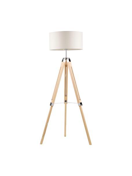 Driepoot vloerlamp Josey van hout, Lampenkap: textiel, Lampvoet: hout, Crèmekleurig, bruin, Ø 70 x H 150 cm