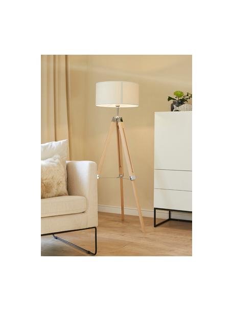 Lampada da terra in legno Lantada, Paralume: tessuto, Base della lampada: legno, Crema, marrone, Ø 70 x Alt. 150 cm