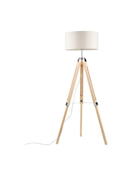 Lampa podłogowa trójnóg z drewna Josey, Kremowy, brązowy, Ø 70 x W 150 cm