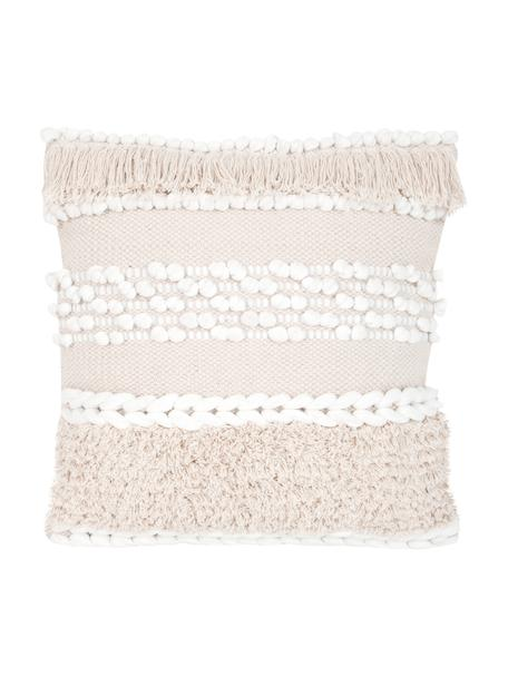 Boho Kissenhülle Anoki in Ecru, 80% Baumwolle, 20% Polyester, Ecru, Weiss, 45 x 45 cm
