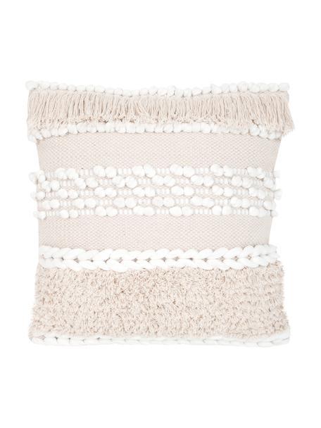 Funda de cojín Anoki, estilo boho, 80%algodón, 20%poliéster, Crudo, blanco, An 45 x L 45 cm