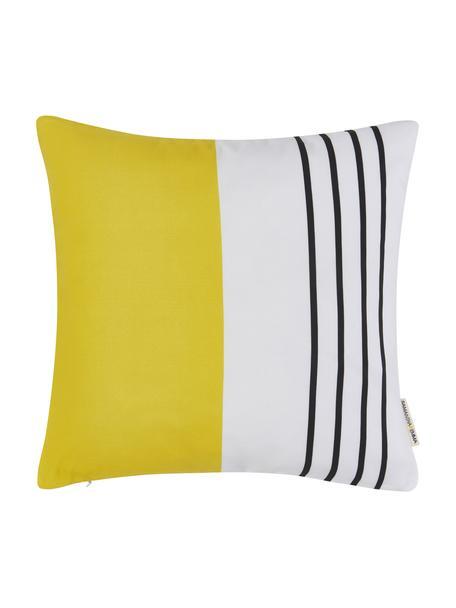Kussenhoes Magdalena met strepen, 100% polyester, Wit, geel, zwart, 40 x 40 cm
