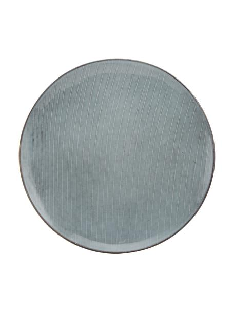 Piatto piano in gres fatto a mano Nordic Sea 4 pz, Gres, Tonalità grigie e blu, Ø 26 cm