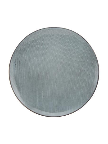 Ręcznie wykonany talerz duży z kamionki  Nordic Sea, 4 szt., Kamionka, Odcienie szarego, odcienie niebieskiego, Ø 26 cm