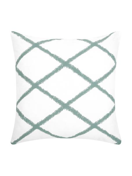 Poszewka na poduszkę Laila, 100% bawełna, Biały, szałwiowy zielony, S 45 x D 45 cm