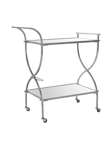 Metalen barcart Caleb, Frame: ijzer, Zilverkleurig, 85 x 98 cm