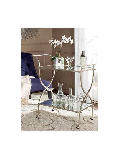 Camarera Porter, Estructura: hierro, Bandejas: espejo de cristal, Plateado, An 85 x Al 98 cm