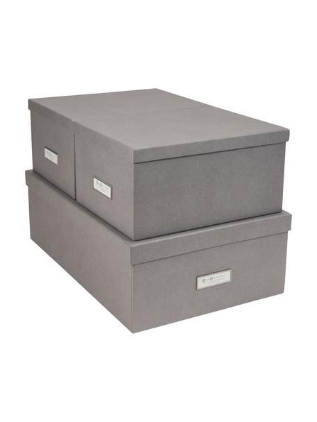 Set de cajas Inge, 3pzas., Caja: cartón laminado, Gris claro, Set de diferentes tamaños