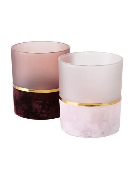 Teelichthalter-Set Adala, 2-tlg., Glas, Rosatöne, Goldfarben, Ø 9 x H 10 cm