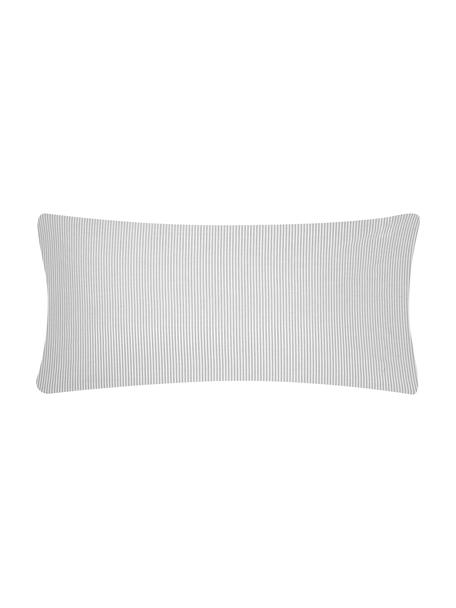 Funda de almohada de algodón Ellie, 45x110cm, Blanco, gris, An 45 x L 110 cm