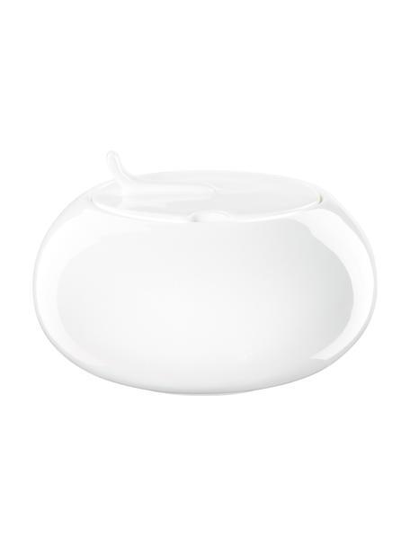 Suikerpot à table van beenderporselein, Beenderporselein (porselein) Fine Bone China is een zacht porselein, dat zich vooral onderscheidt door zijn briljante, doorschijnende glans., Wit, Ø 15 x H 7 cm