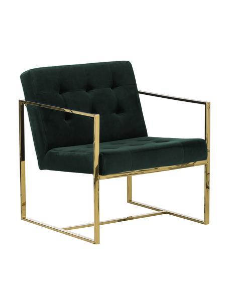 Fluwelen lounge fauteuil Manhattan in groen, Bekleding: fluweel (polyester), Frame: gecoat metaal, Fluweel donkergroen, B 70 x D 72 cm