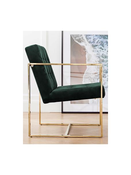 Samt-Loungesessel Manhattan in Grün, Bezug: Samt (Polyester) Der hoch, Gestell: Metall, beschichtet, Samt Dunkelgrün, B 70 x T 72 cm