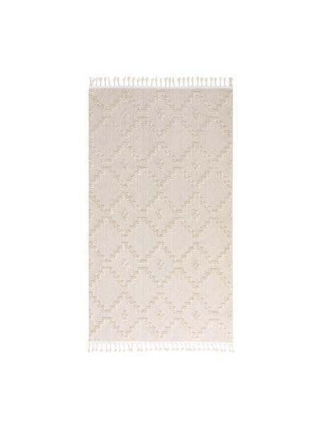 Vloerkleed Oyo in crèmekleur met hoog-laag patroon in boho stijl, Bovenzijde: polyester, Onderzijde: katoen, Crèmekleurig, B 80 x L 150 cm (maat XS)