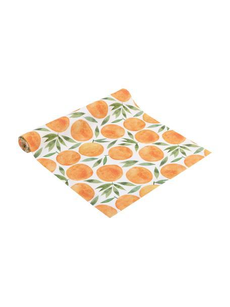 Tischläufer Picnic mit Orangenmotiven, 85% Baumwolle, 15% Leinen, Orange, Grün, Weiß, 40 x 145 cm