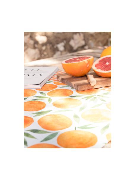 Tafelloper Picnic met sinaasappel motief, 85% linnen, 15% katoen, Oranje, groen, wit, 40 x 145 cm