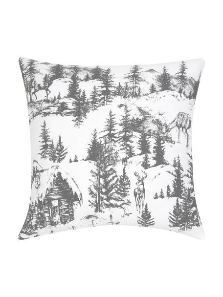 Kissenhülle Nordic mit winterlichem Motiv in Grau/Weiß, Baumwolle, Dunkelgrau, Weiß, 40 x 40 cm