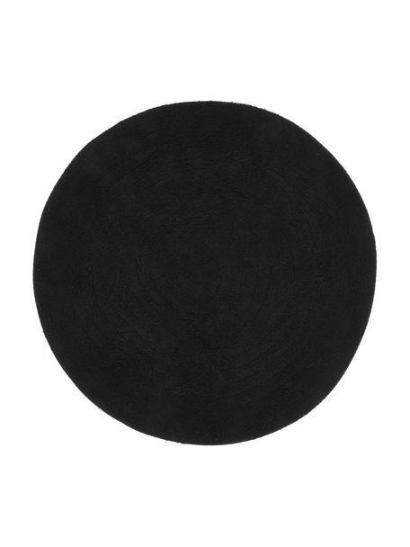Okrągły dywanik łazienkowy Emma, Bawełna, Czarny, Ø 90 cm