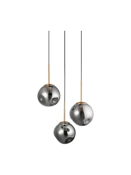 Cluster hanglamp Spada van glas, Lampenkap: glas, Baldakijn: kunststof, Messingkleurig, grijs, Ø 40  x H 28 cm