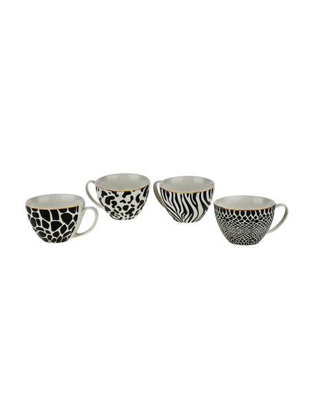 Tassen Wild Jungle, 4er-Set, Porzellan, Schwarz, Weiß, Ø 12 x H 8 cm