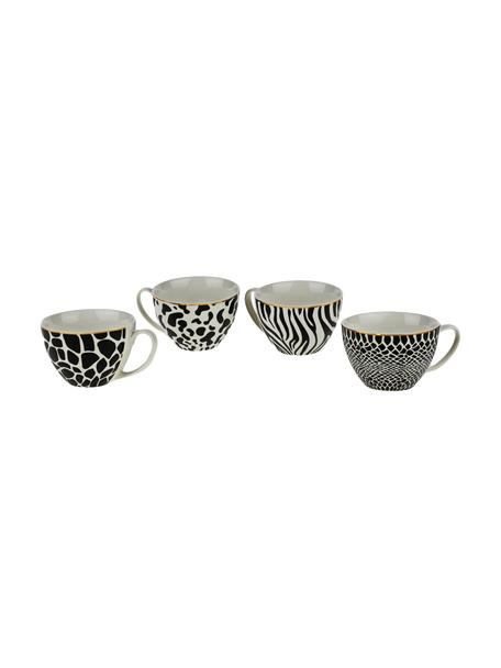 Tazas Wild Jungle, 4uds., Porcelana, Negro, blanco, Ø 12 x Al 8 cm