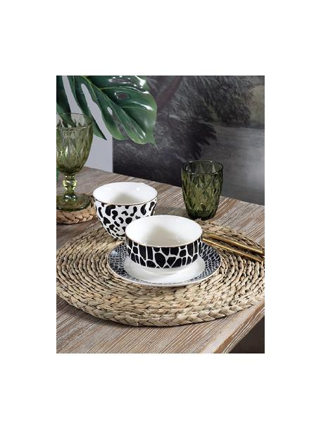 Tazas de café Wild Jungle, 4uds., Porcelana, Negro, blanco, Ø 12 x Al 8 cm