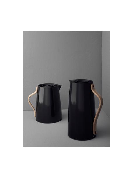 Brocca isotermica color nero lucido Emma, 1.2 L, Rivestimento: smalto, Manico: legno di faggio, Nero lucido, 1.2 L