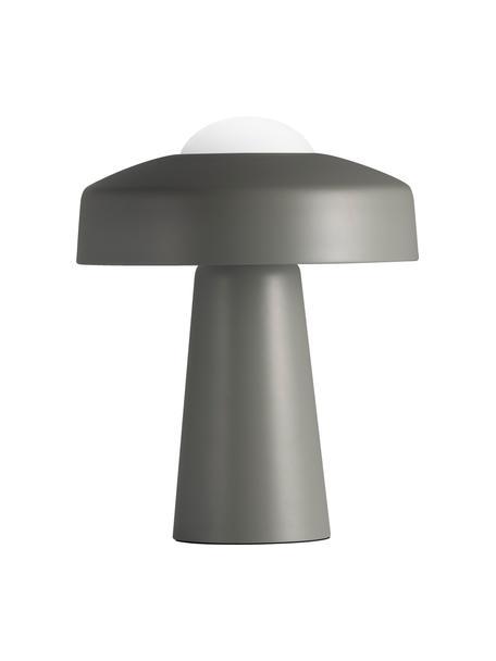 Design tafellamp Time, Lampenkap: gecoat metaal, Lampvoet: gecoat metaal, Diffuser: opaalglas, Grijs, wit, Ø 27 x H 34 cm